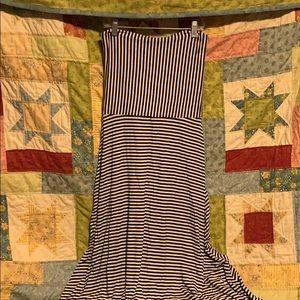 Versatile, striped, strapless dress